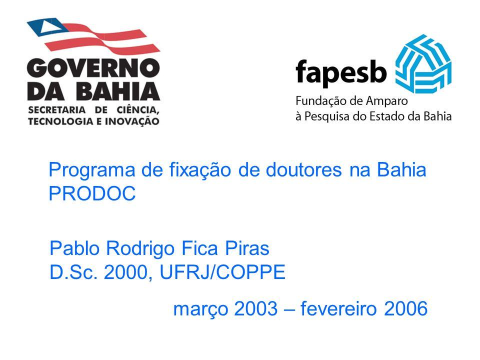 Programa de fixação de doutores na Bahia