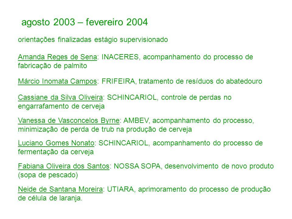 agosto 2003 – fevereiro 2004 orientações finalizadas estágio supervisionado.