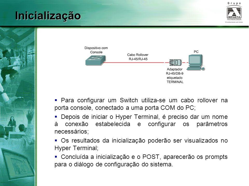 Inicialização Para configurar um Switch utiliza-se um cabo rollover na porta console, conectado a uma porta COM do PC;