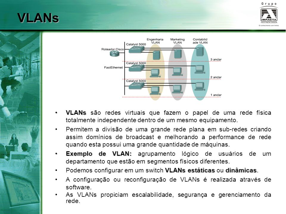 VLANs VLANs são redes virtuais que fazem o papel de uma rede física totalmente independente dentro de um mesmo equipamento.