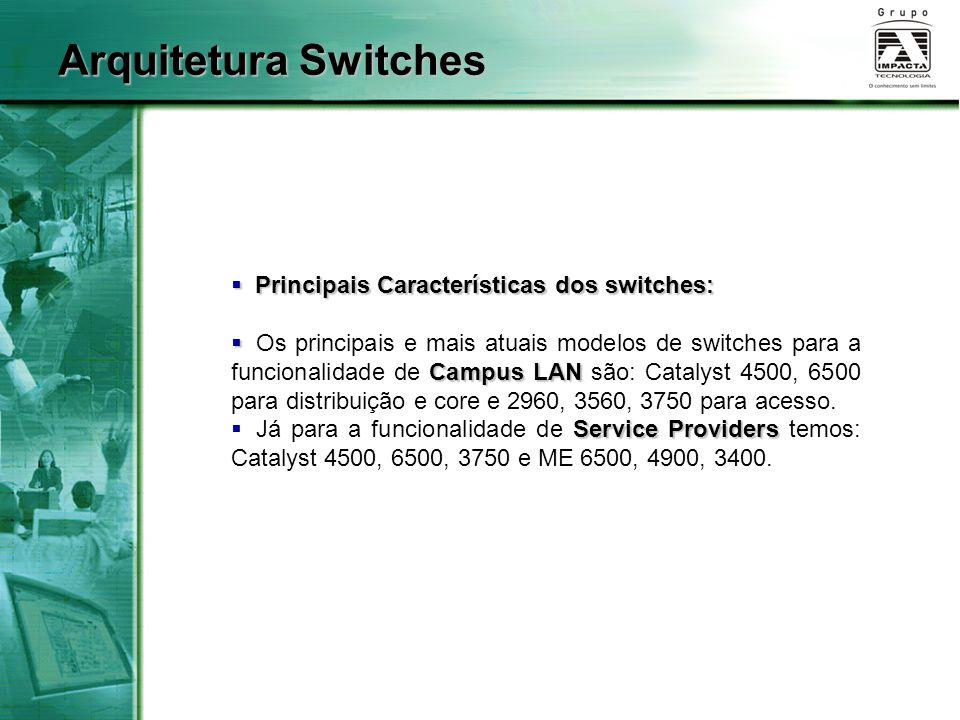 Arquitetura Switches Principais Características dos switches: