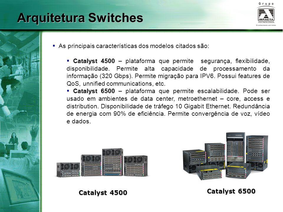 Arquitetura Switches As principais características dos modelos citados são: