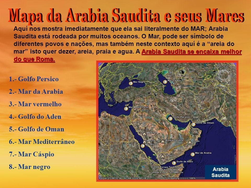 Mapa da Arabia Saudita e seus Mares