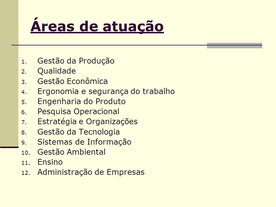 Áreas de atuação Gestão da Produção Qualidade Gestão Econômica
