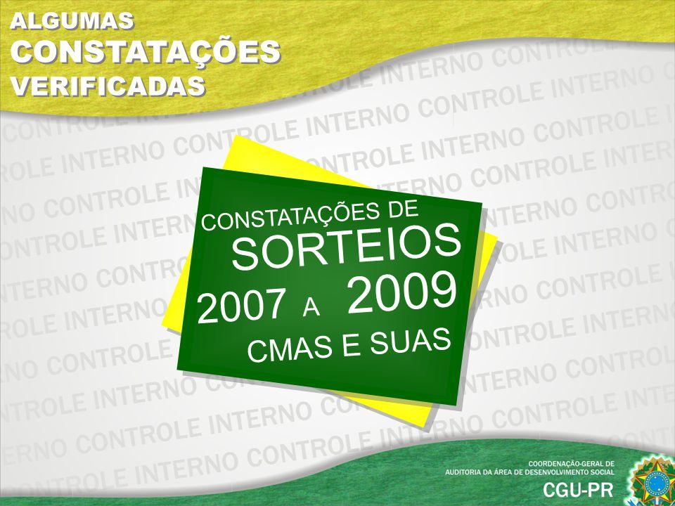 SORTEIOS 2007 A 2009 CMAS E SUAS ALGUMAS CONSTATAÇÕES VERIFICADAS