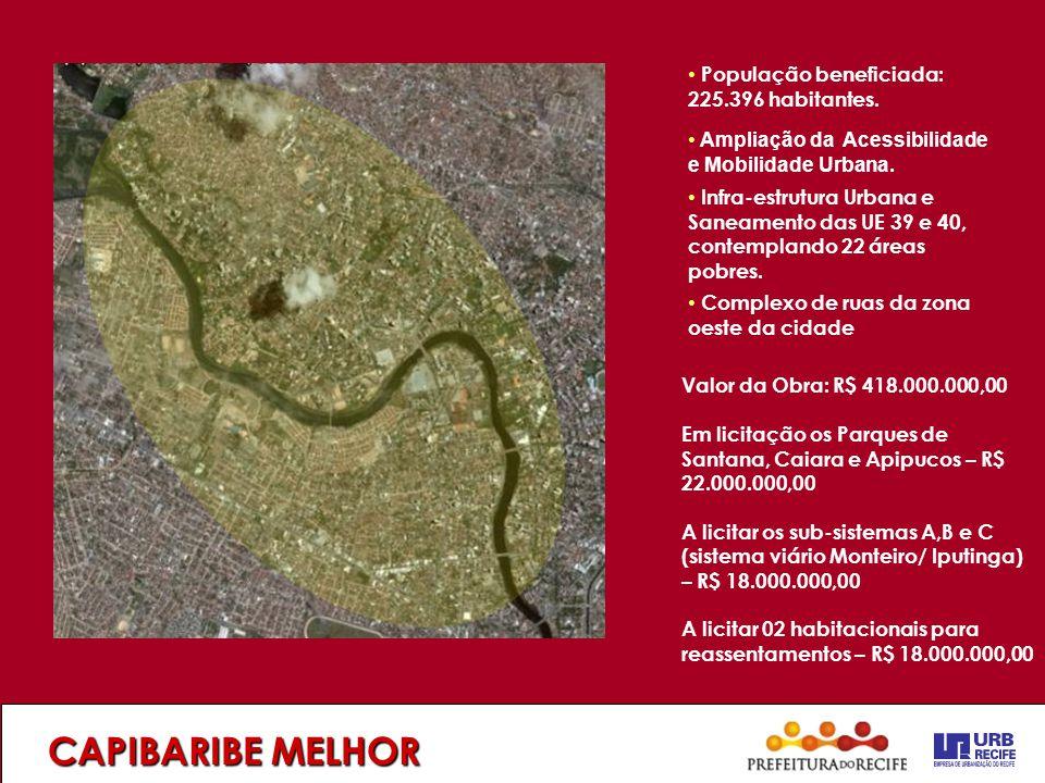 CAPIBARIBE MELHOR População beneficiada: 225.396 habitantes.