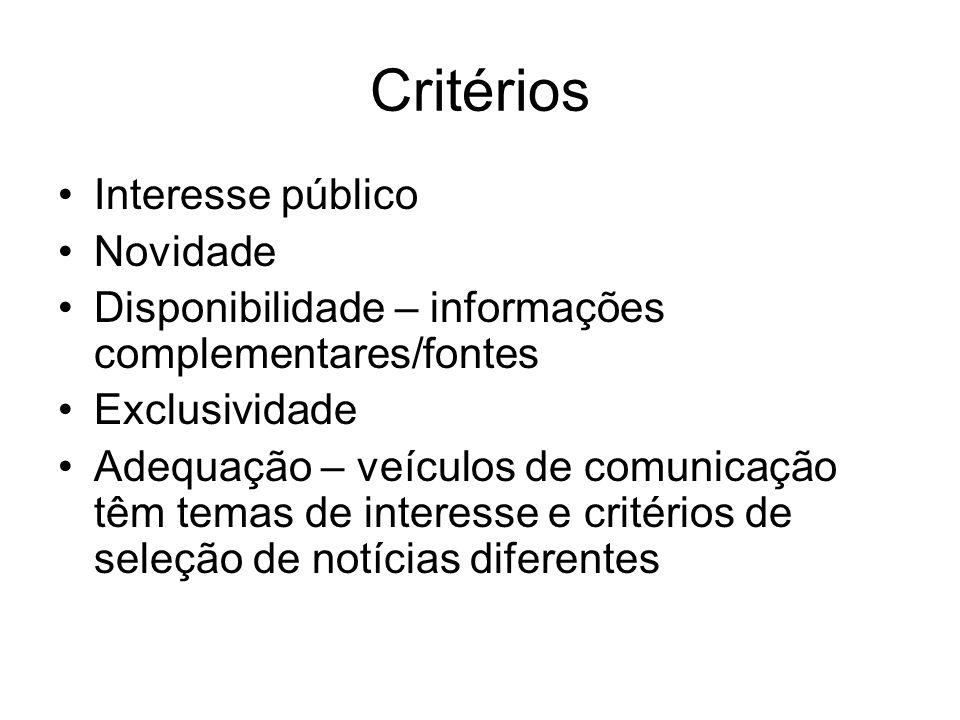 Critérios Interesse público Novidade