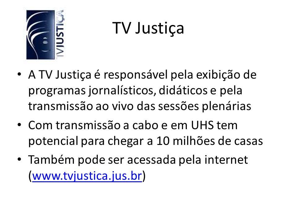 TV Justiça A TV Justiça é responsável pela exibição de programas jornalísticos, didáticos e pela transmissão ao vivo das sessões plenárias.