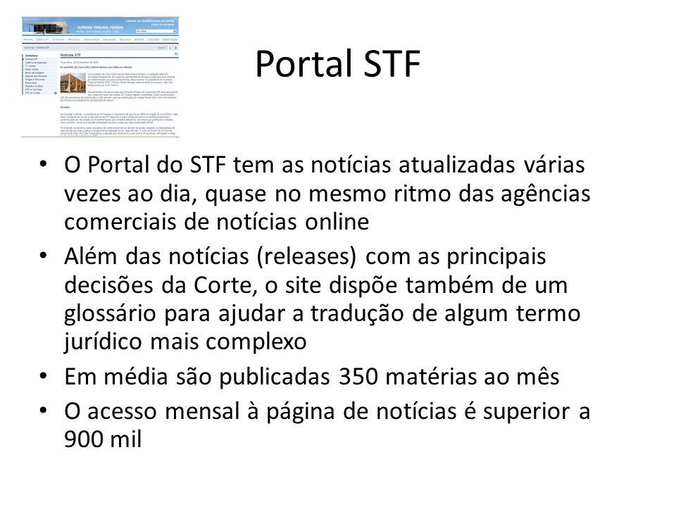 Portal STF O Portal do STF tem as notícias atualizadas várias vezes ao dia, quase no mesmo ritmo das agências comerciais de notícias online.