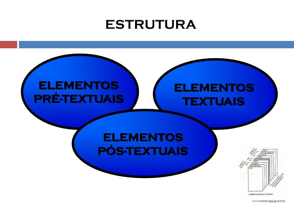 ESTRUTURA ELEMENTOS ELEMENTOS PRÉ-TEXTUAIS TEXTUAIS ELEMENTOS