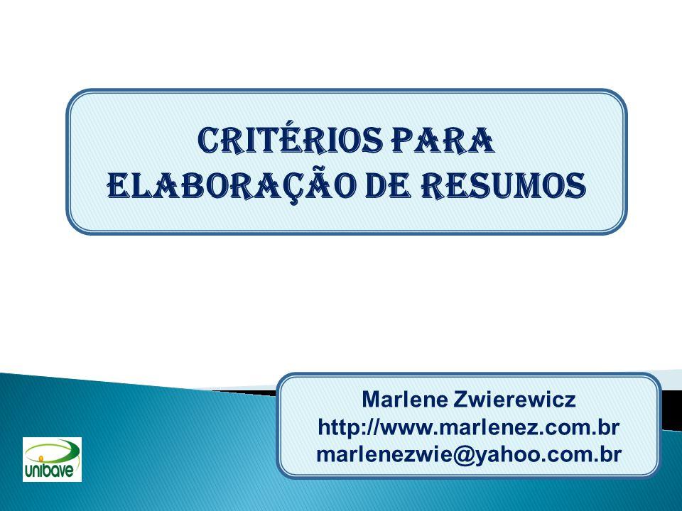 CRITÉRIOS PARA ELABORAÇÃO DE RESUMOS