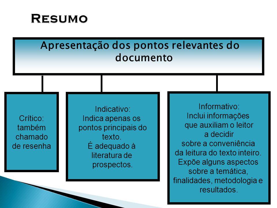 Apresentação dos pontos relevantes do documento
