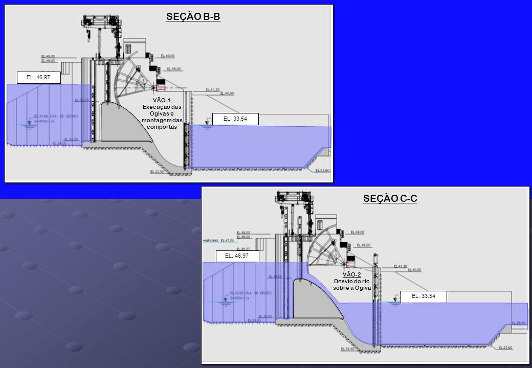 SEÇÃO B-B EL. 46,97. VÃO-1 Execução das Ogivas e montagem das comportas. EL. 33,54. SEÇÃO C-C. EL. 46,97.