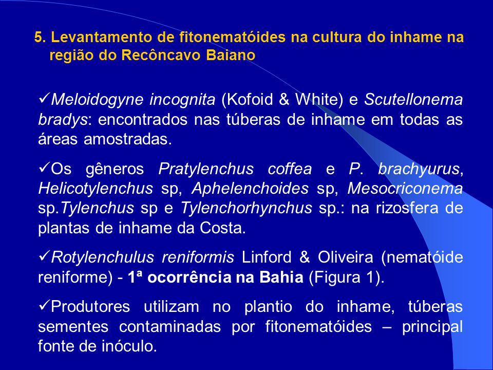 5. Levantamento de fitonematóides na cultura do inhame na região do Recôncavo Baiano