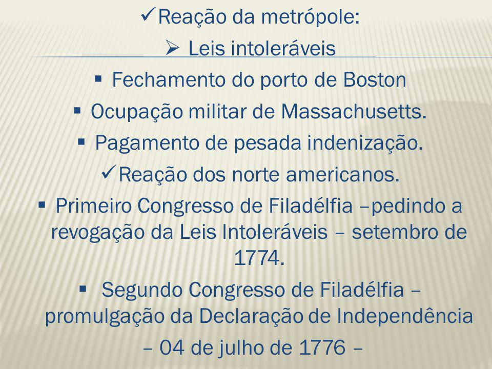 Fechamento do porto de Boston Ocupação militar de Massachusetts.
