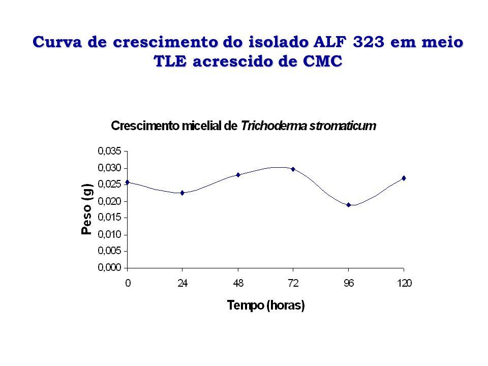 Curva de crescimento do isolado ALF 323 em meio TLE acrescido de CMC
