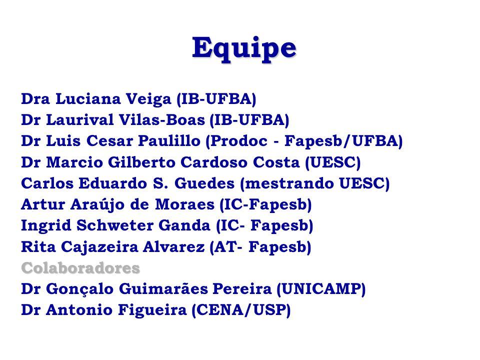 Equipe Dra Luciana Veiga (IB-UFBA) Dr Laurival Vilas-Boas (IB-UFBA)