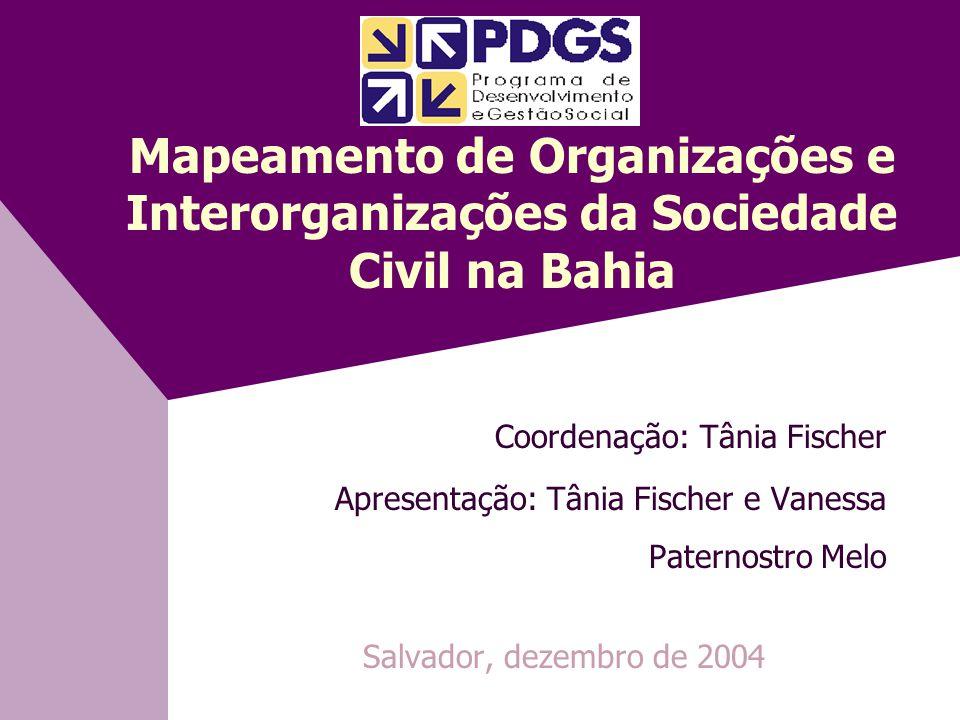 Mapeamento de Organizações e Interorganizações da Sociedade Civil na Bahia