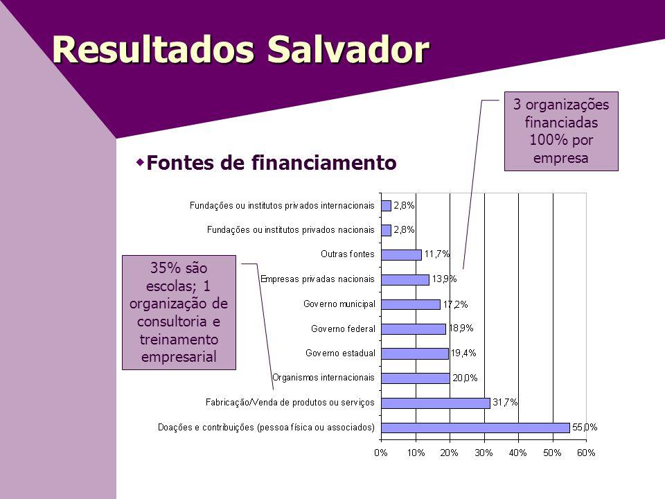 3 organizações financiadas 100% por empresa