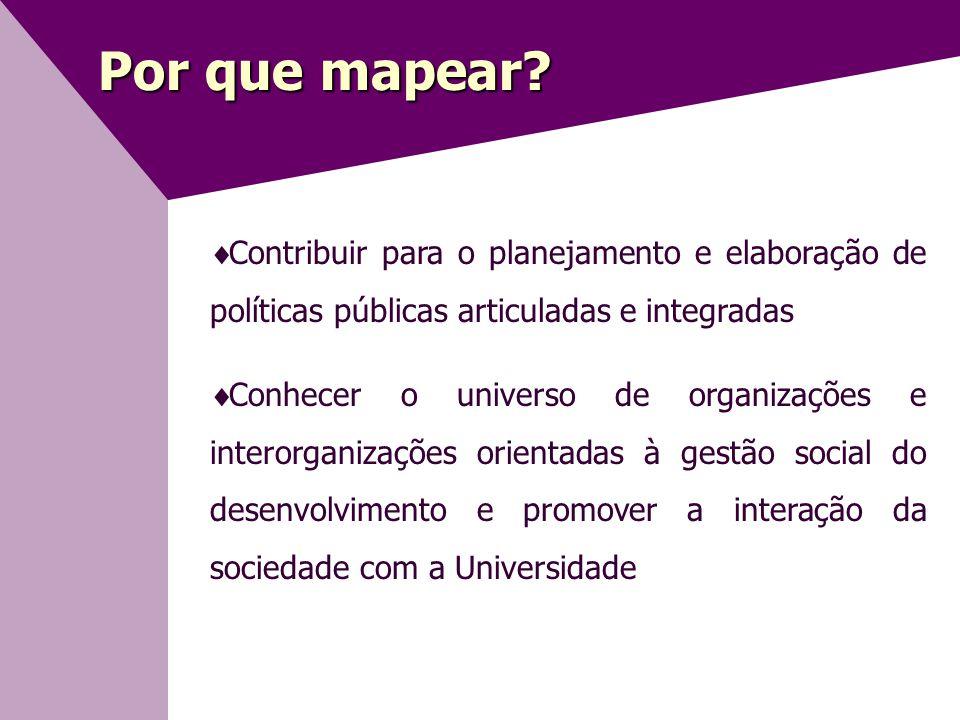 Por que mapear Contribuir para o planejamento e elaboração de políticas públicas articuladas e integradas.