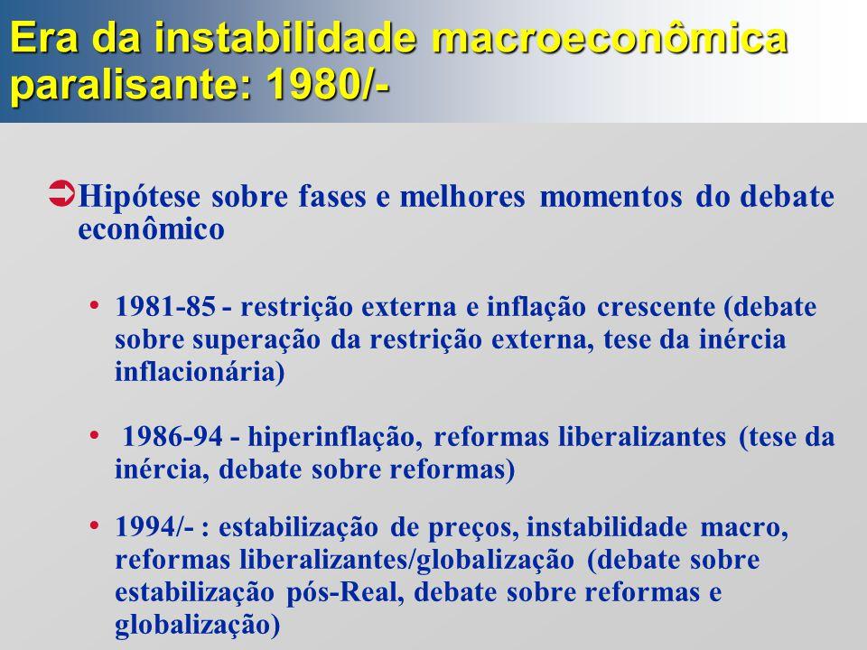 Era da instabilidade macroeconômica paralisante: 1980/-