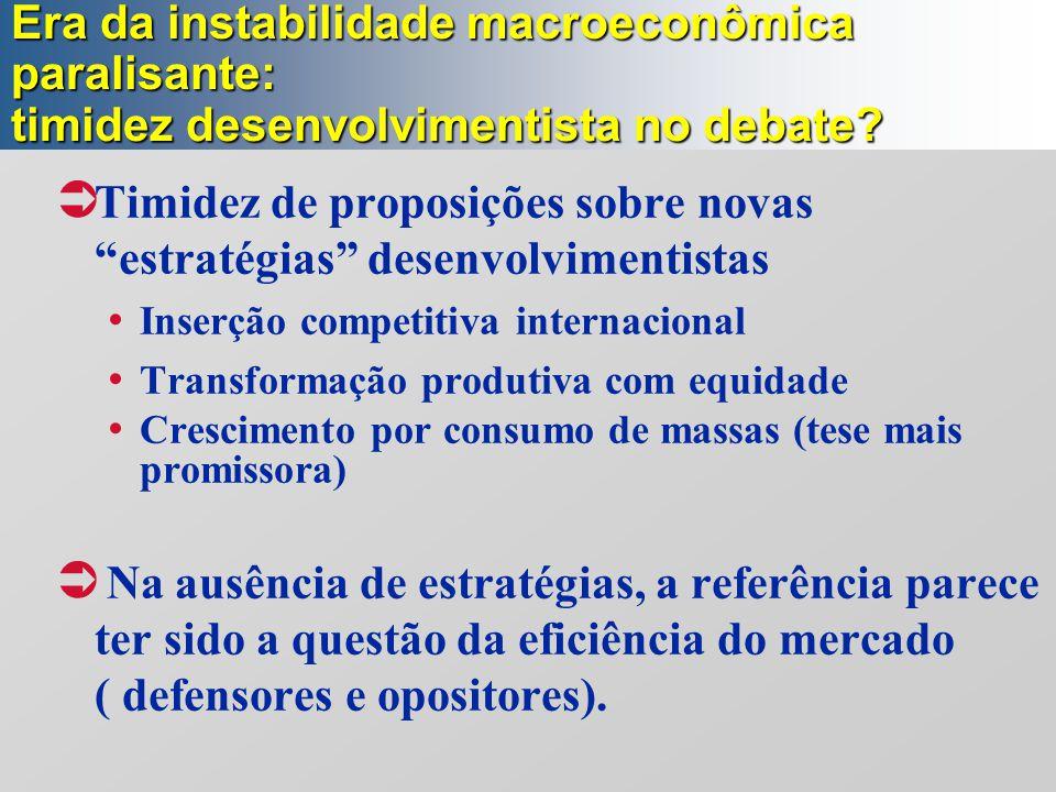 Timidez de proposições sobre novas estratégias desenvolvimentistas