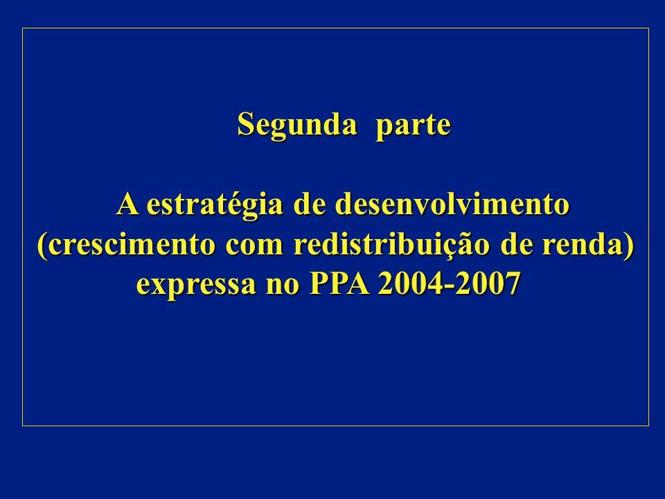 Segunda parte A estratégia de desenvolvimento (crescimento com redistribuição de renda) expressa no PPA 2004-2007.