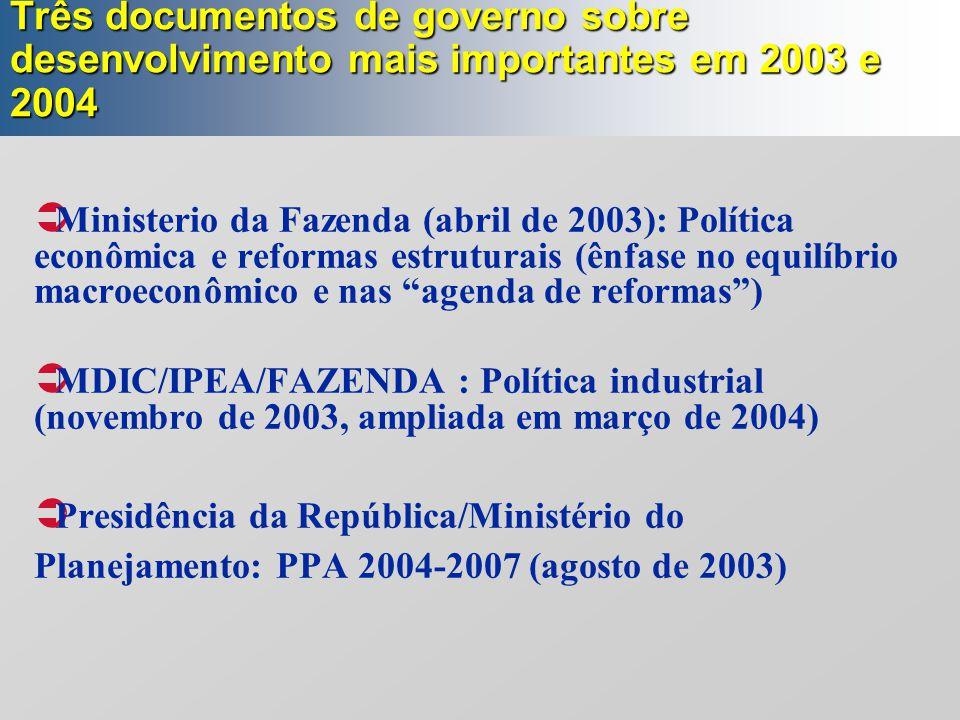 Três documentos de governo sobre desenvolvimento mais importantes em 2003 e 2004
