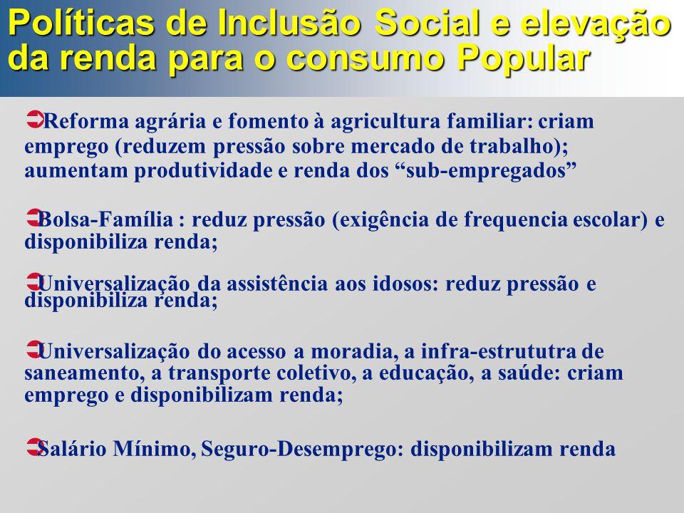 Políticas de Inclusão Social e elevação da renda para o consumo Popular