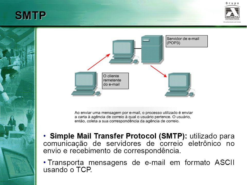 SMTP Simple Mail Transfer Protocol (SMTP): utilizado para comunicação de servidores de correio eletrônico no envio e recebimento de correspondência.