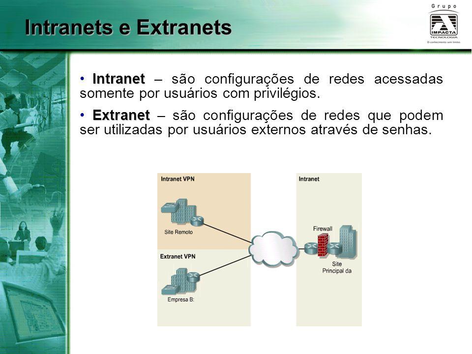 Intranets e Extranets Intranet – são configurações de redes acessadas somente por usuários com privilégios.