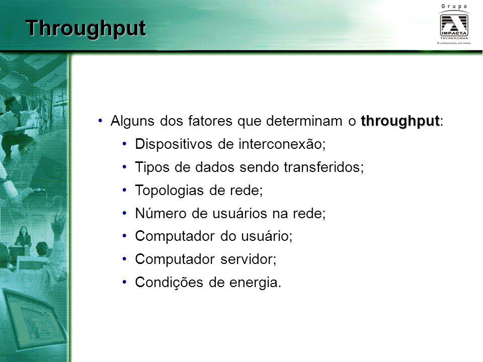 Throughput Alguns dos fatores que determinam o throughput:
