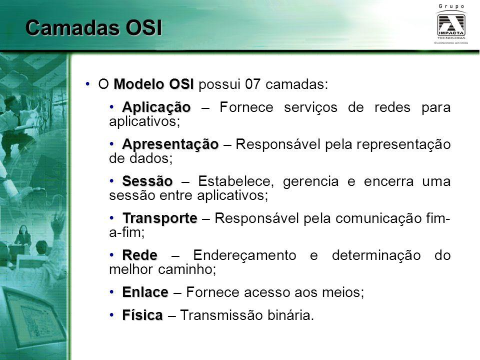 Camadas OSI O Modelo OSI possui 07 camadas: