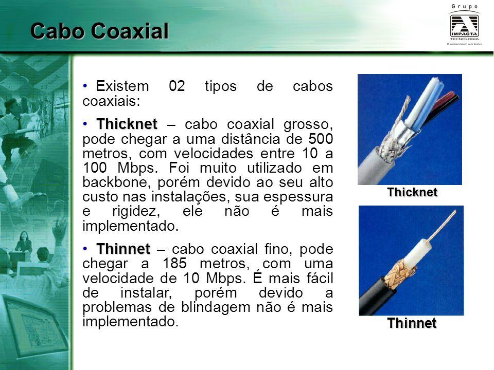 Cabo Coaxial Existem 02 tipos de cabos coaxiais: