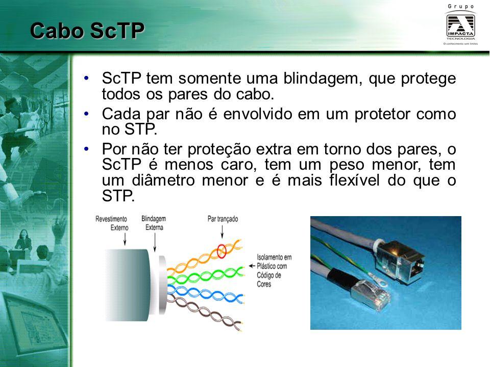 Cabo ScTP ScTP tem somente uma blindagem, que protege todos os pares do cabo. Cada par não é envolvido em um protetor como no STP.