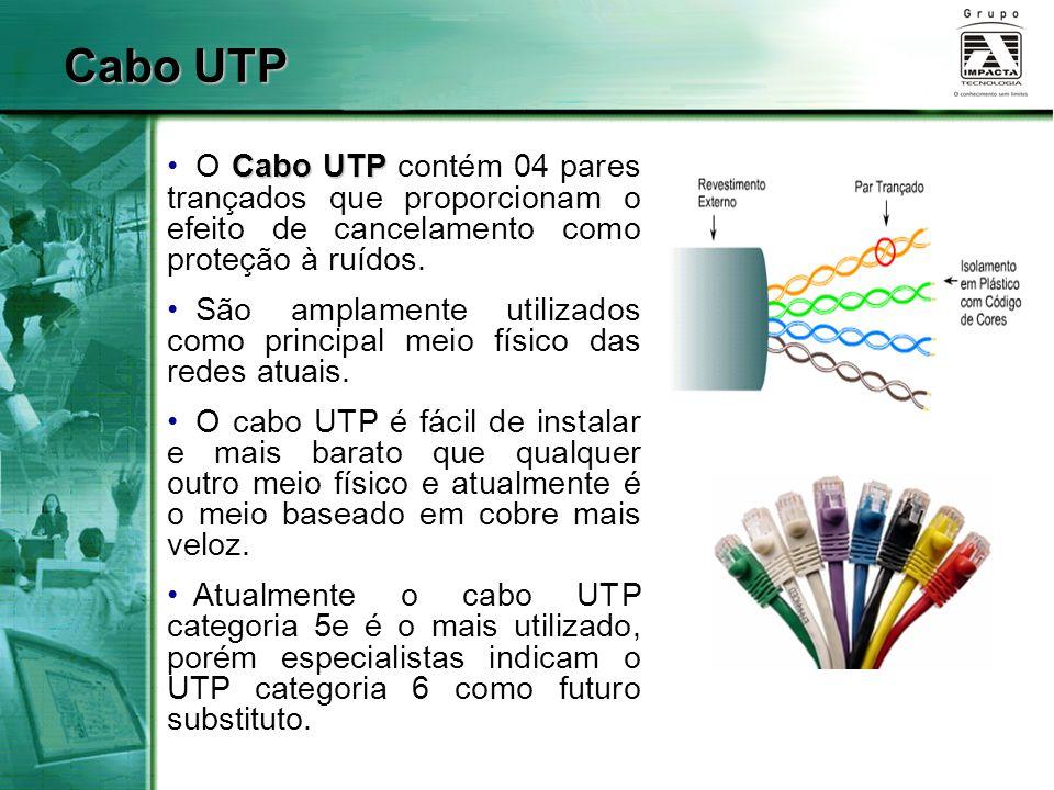 Cabo UTP O Cabo UTP contém 04 pares trançados que proporcionam o efeito de cancelamento como proteção à ruídos.