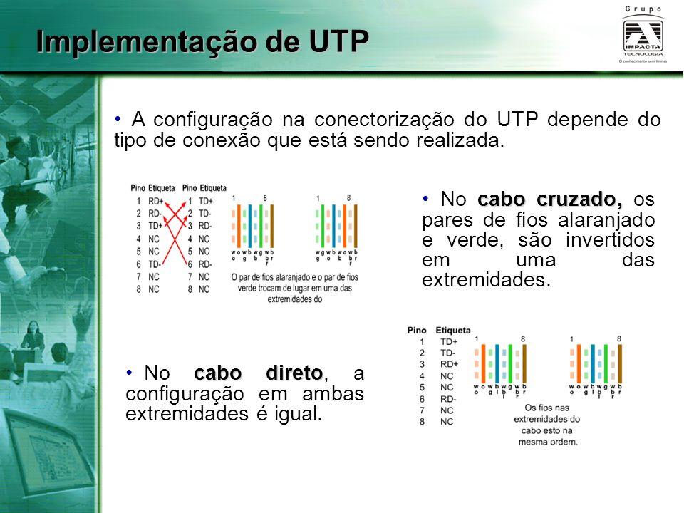 Implementação de UTP A configuração na conectorização do UTP depende do tipo de conexão que está sendo realizada.