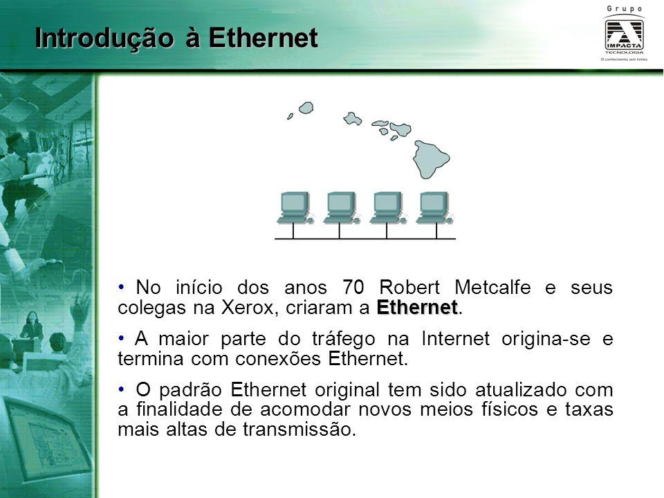Introdução à Ethernet No início dos anos 70 Robert Metcalfe e seus colegas na Xerox, criaram a Ethernet.