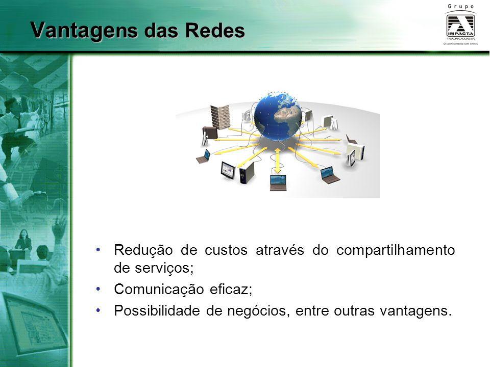 Vantagens das Redes Redução de custos através do compartilhamento de serviços; Comunicação eficaz;