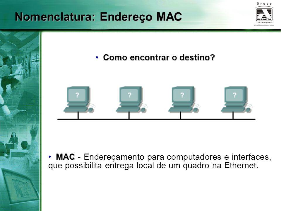 Nomenclatura: Endereço MAC
