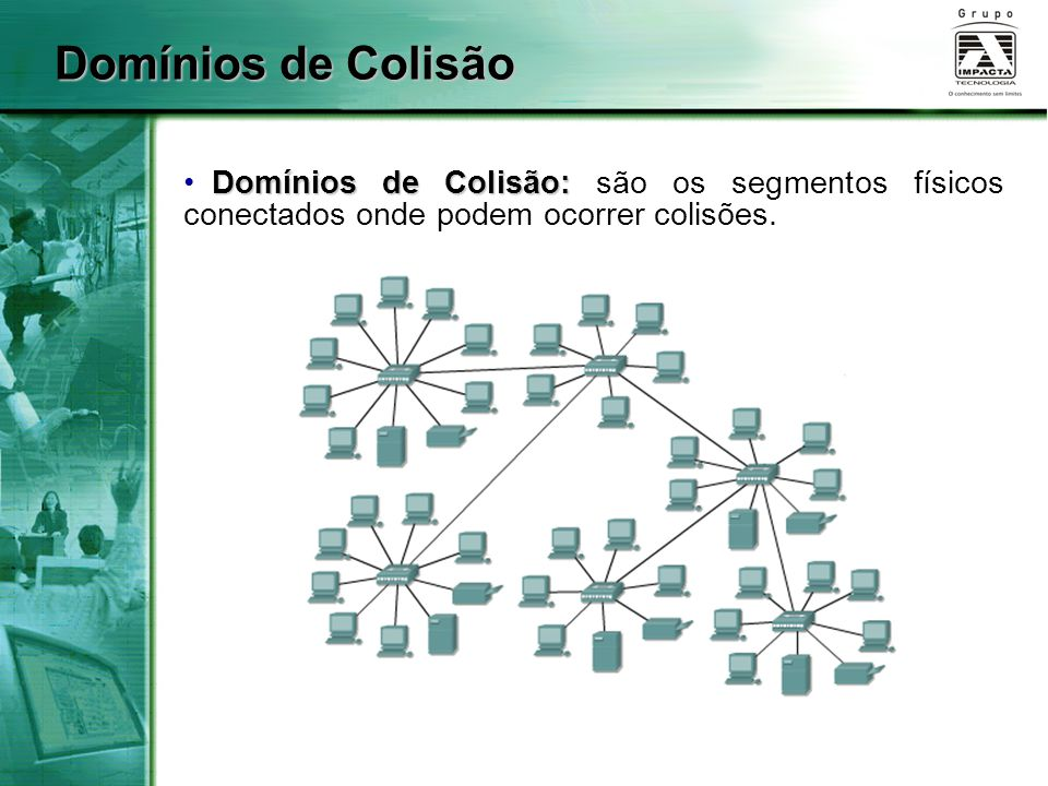 Domínios de Colisão Domínios de Colisão: são os segmentos físicos conectados onde podem ocorrer colisões.