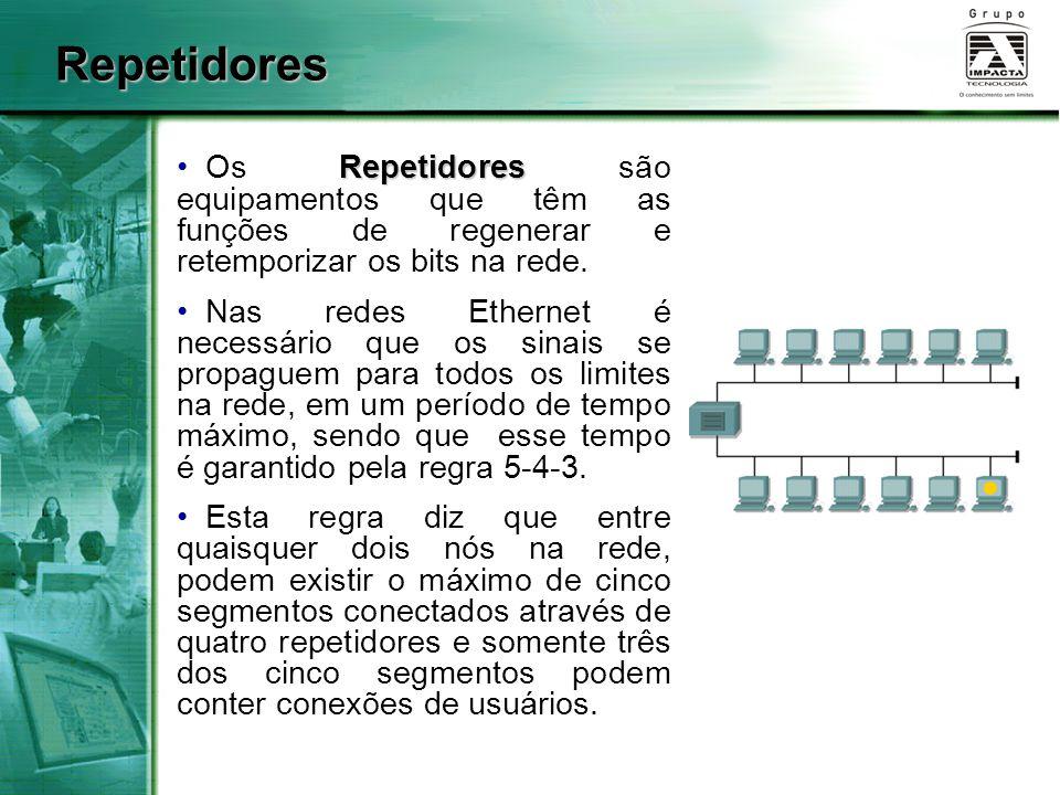 Repetidores Os Repetidores são equipamentos que têm as funções de regenerar e retemporizar os bits na rede.