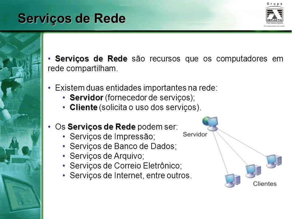 Serviços de Rede Serviços de Rede são recursos que os computadores em rede compartilham. Existem duas entidades importantes na rede: