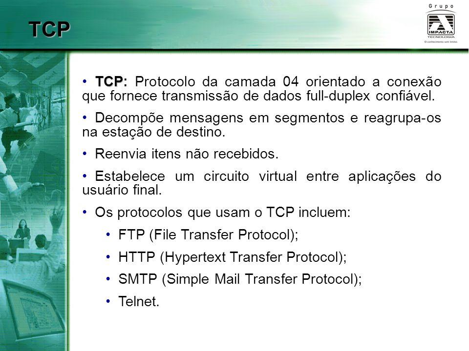 TCP TCP: Protocolo da camada 04 orientado a conexão que fornece transmissão de dados full-duplex confiável.