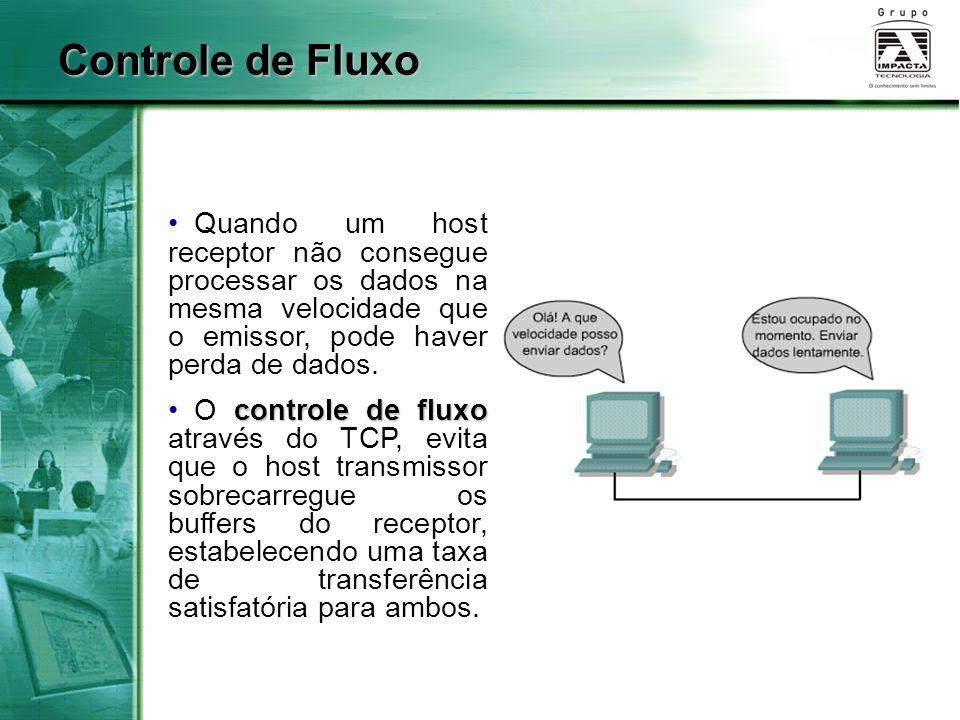 Controle de Fluxo Quando um host receptor não consegue processar os dados na mesma velocidade que o emissor, pode haver perda de dados.