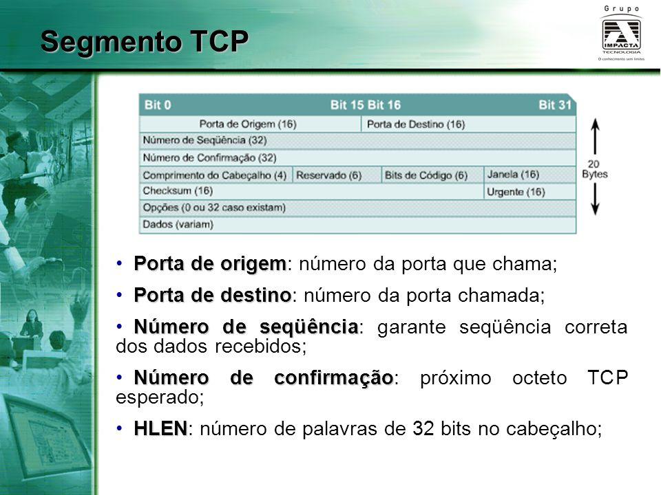 Segmento TCP Porta de origem: número da porta que chama;