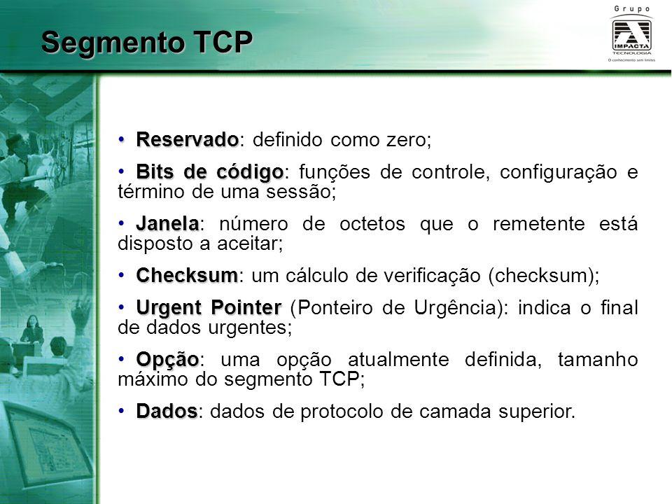 Segmento TCP Reservado: definido como zero;
