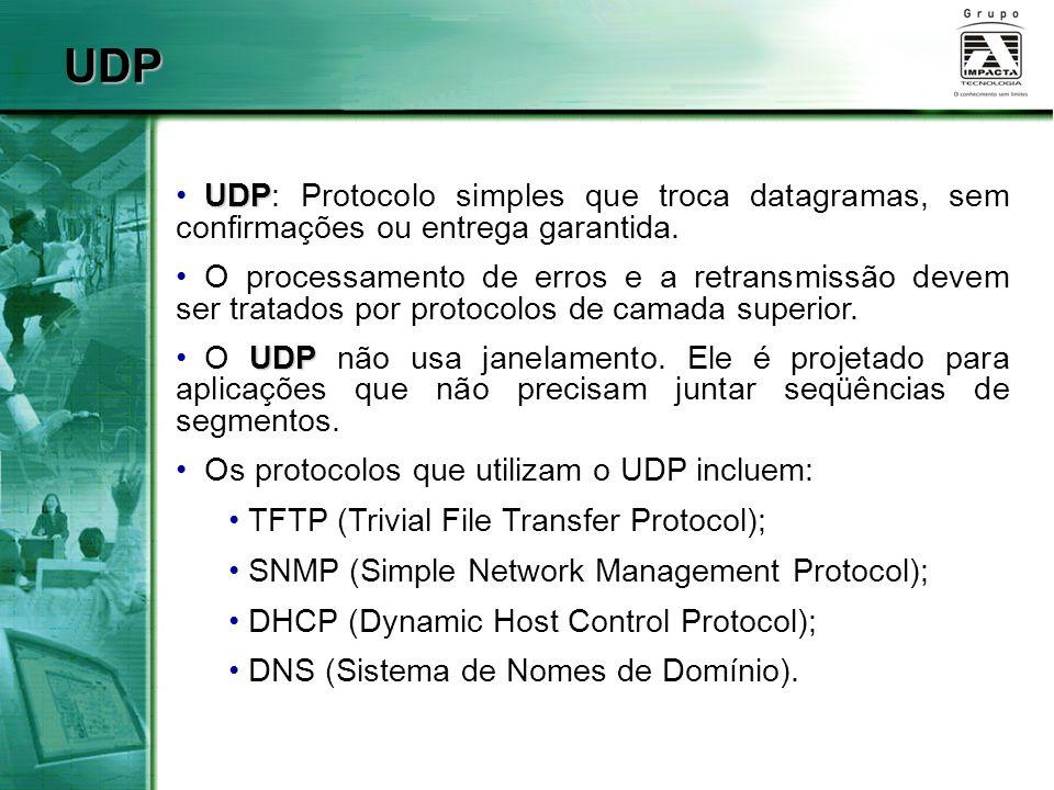 UDP UDP: Protocolo simples que troca datagramas, sem confirmações ou entrega garantida.