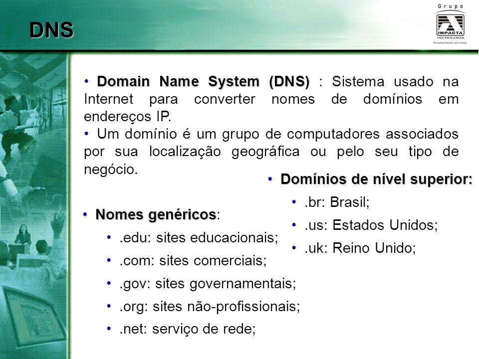 DNS Domain Name System (DNS) : Sistema usado na Internet para converter nomes de domínios em endereços IP.