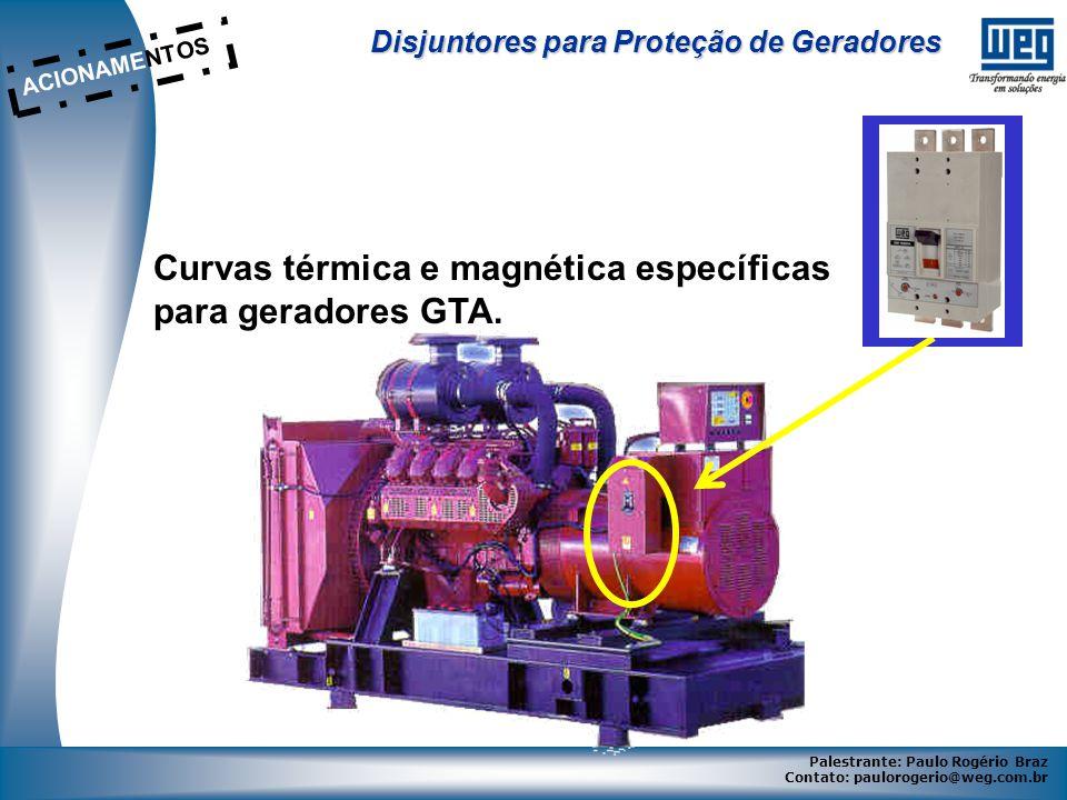 Curvas térmica e magnética específicas para geradores GTA.
